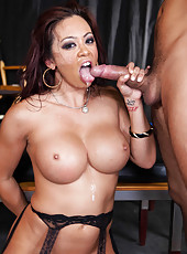 Amazing double penetration scene at the backstage with Mia Lelani