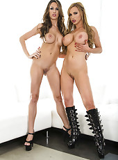 Crazy and gorgeous lesbians Kortney Kane and Nikki Benz show their bodies