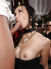 Hot dark haired milf Katsuni fucks with her boyfriend and sucks a huge cock