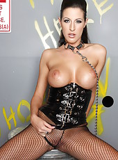 Hot and dangerous brunette Kortney Kane rubs her delicious boobs