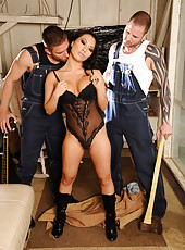 Mesmerizing Asian babe Asa Akira fucked hard by two hot rednecks