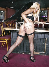First-class blonde milf Carmel Moore is a stripper in the local club