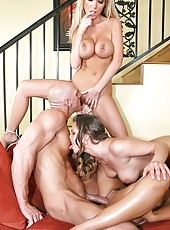 Great foursome with hot girls named Eva Angelina, Nikki Benz and Rachel RoXXX