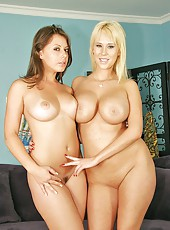 Gorgeous lesbians Carly Parker and Penny Flame demonstrate their charms together