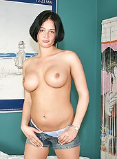 Short haired brunette milf Tory Lane strips at her own home