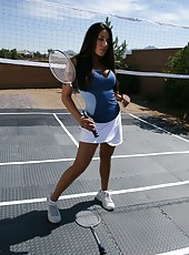 First-class brunette milf with big boobs Jenaveve Jolie enjoys tennis