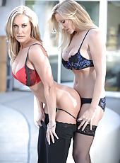 Two stunning office ladies Brandi Love and Julia Ann need a hot break
