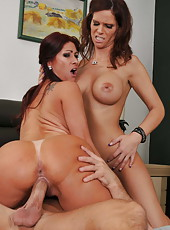 Two stunning babes Syren De Mer and Tiffany Mynx together with a big cock
