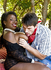 Outdoor interracial scene with super curvy mature woman Vanessa Blue