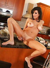 Tall model Shay Sights dancing striptease and masturbating at the kitchen