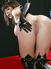 Crazy flapper Sienna West posing in latex and getting very naughty