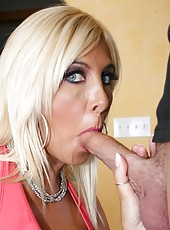 Beautiful skinny mature lady Misty Vonage is sucking hard cock of her sweet man