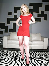 Nina Hartley enjoys showing her shaved pussy and her smoking hot ass to the world