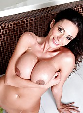 Hardcore fuck with a sexy brunette Ariella Ferrera in the bathroom