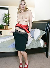 Beautiful and elegant blonde lady Jordan Kingsley masturbates with her fingers