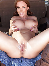 Hot outdoor fuck with a nasty redhead slut named Diamond Foxxx