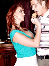 Playful redhead mommy Nicki Hunter gets a sperm on the big boobs