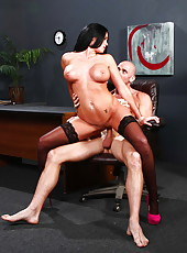 Provocative brunette office milf Aryana Augustine makes her co-worker wild