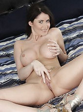 Perfect round big tits and tight shaved pussy by hot milf Eva Karera