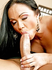 Petite, busty and flexible brunette milf Cherokee fucked by a big cocked young man