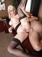 Blonde Lexi Swallow makes her boss wild with beautiful big tits and swallows his cum