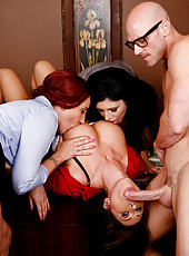 Hungry milfs Kelly Divine, Kianna Dior and Sativa Rose take a big cock in their holes