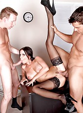 Wild double penetration for a super hot milf Brandy Aniston in beautiful stockings