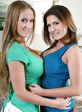 Two exciting and busty lesbians Abby Rode and Austin Kincaid playing with their treasures