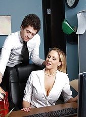 Hot business lady Julia Ann fucking with curly haired and skinny worker