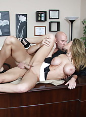 Extremely horny mature business lady Kayla Paige fucks big dicked worker