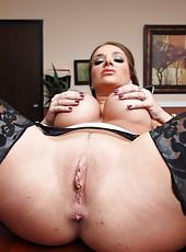 Nasty manager of a big corporation Nika Noire demonstrates her boundless big boobs