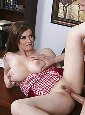 Hot milf with huge natural boobs Sara Stone knows how to seduce her boss