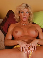 Fabulous mature blonde TJ Powers shows off her sexy pussy and big tits