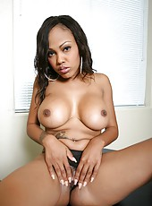Ebony bombshell Lacey DuValle with delicious big tits spreads her big butt