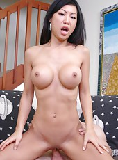 Slender Asian babe with sweet big tits Tia Ling got a cock in her tiny shaved pussy