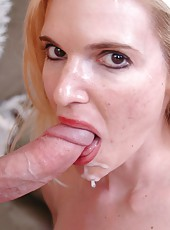 Buxom blonde milf with sexy figure named Nina tastes cum after hot and gentle scene