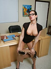 Brunette girl Tory Lane, her sexy face, hot glasses and delicious forms