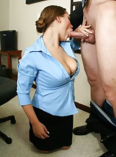Hungry secretary Kaylee Lovecox facialized by her boss in his office