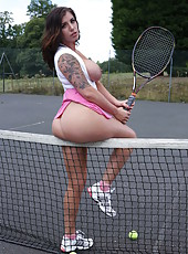Two mesmerizing tennis players Abbie Cat and Yuffie Yulan become horny at the court