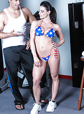 Cheeky whore Kendra Lust bangs with her coach and swallows his wiener