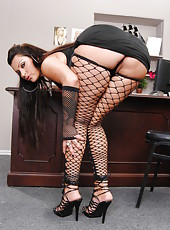 Horny fatty Nikita Denise posing in stockings and masturbating really hard