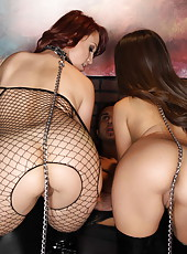Jynx Maze and Nicki Hunter posing in stockings and enjoying an awesome threesome