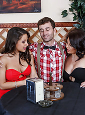 Great threesome with two brunettes Casey Cumz and Charity Bangs fucked by one big cock