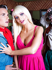 Sumptuous doll Rikki Six meets lucky boy in sexy dress and starts with hot blowjob