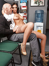 Brunette coquette Amber Cox enjoys this hardcore fucking action at her workplace