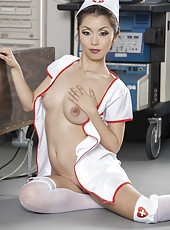 Pretty Asian nurse with tiny tits and sympathetic face Marica Hase