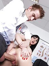Brunette milf with huge breast Anastasia Brill fucked in every hole by young doctor