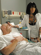 Tattooed and busty brunette hottie Julia Bond was invited in the local hospital to recover this man