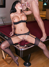 Hardcore brunette milf Lezley Zen fucking on the billiard table