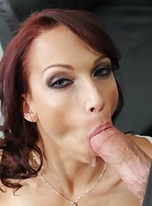 Giggly babe Nicki Hunter making an awesome blowjob and riding cock